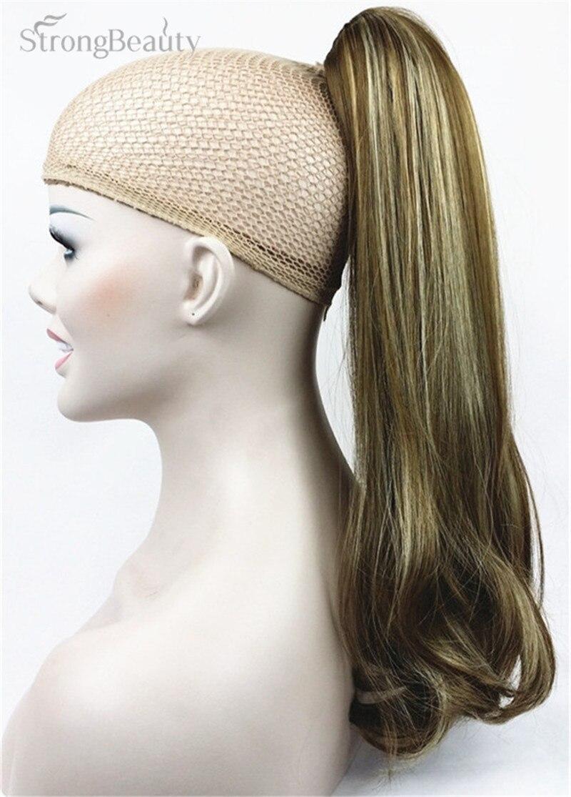 StrongBeauty pinza de cola de caballo de largo sintético de 45cm en cola de Pony pinza de extensión de pelo en pieza de pelo estilo recto 17 colores