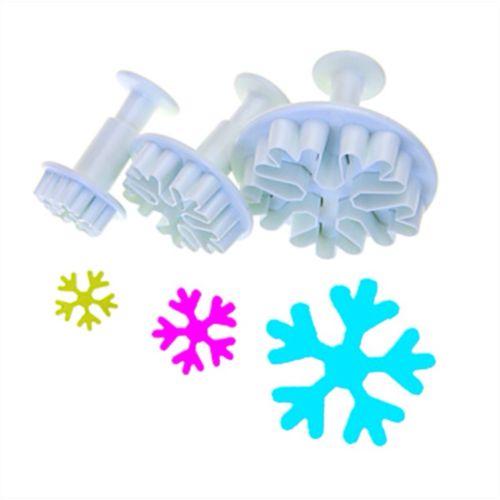 3 unids/set copo de nieve blanco de Navidad Fondant decoración molde galleta émbolo cortador de pastel congelado