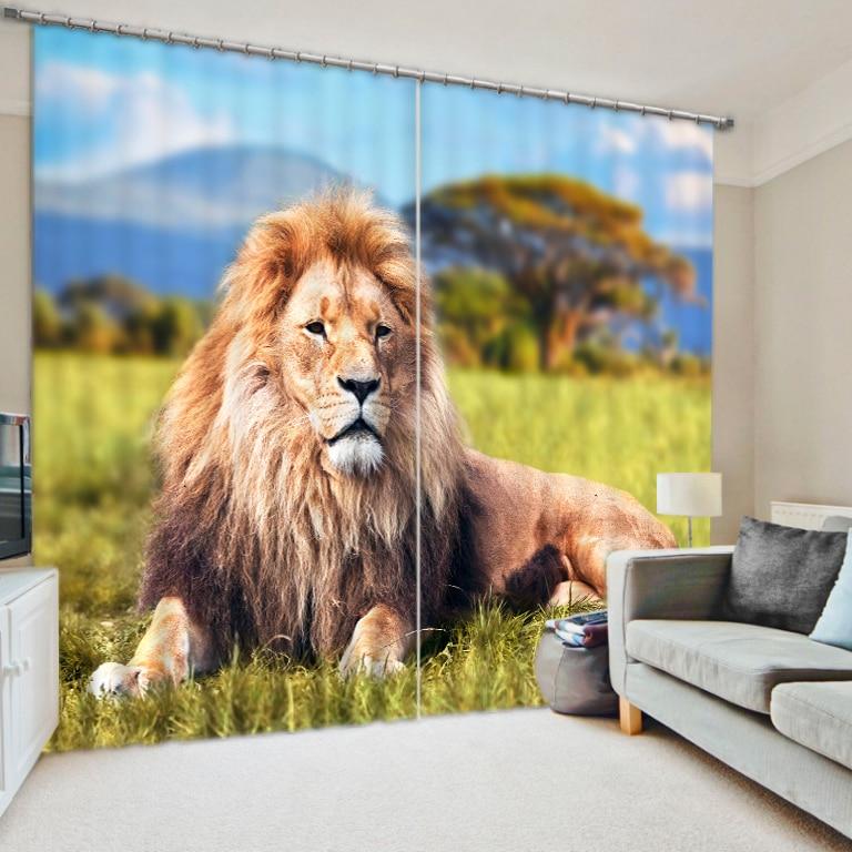 Cortinas de ventana 3D de animales de León de estilo moderno para dormitorio, sala de estar, Cortinas de hotel, Cortinas decorativas para sala de estar