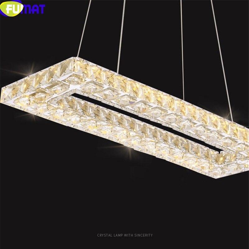 Lámparas colgantes de atenuación remoto de cristal FUMAT S 8 rectangulares para comedor LED 3 lámparas de araña colgantes de Color claro