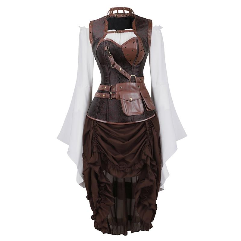Steampunk corset vestido top saia 3-peça traje cosplay punk gótico burlesque corsets bustier pirata do vintage plus size marrom