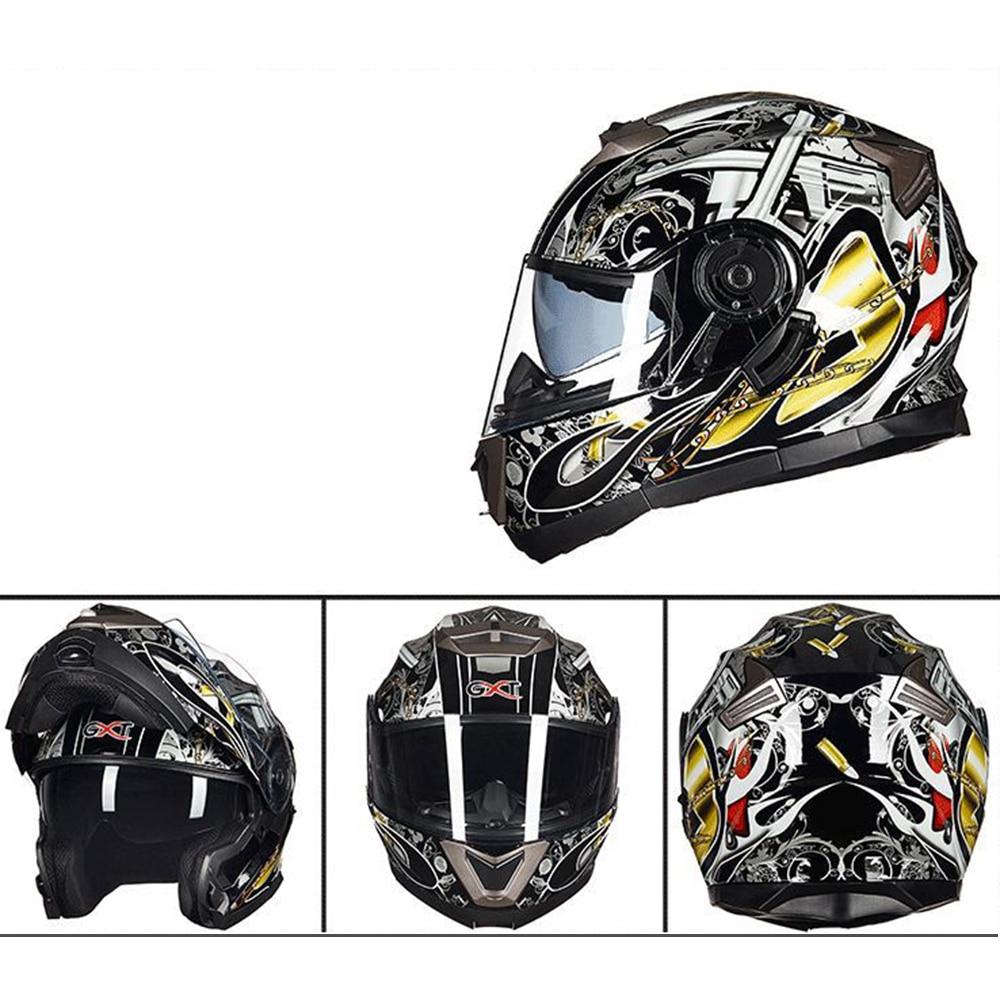 Verão Nova personalidade GXT capacete da motocicleta masculino capacete integral dupla lente full-capa anti-fog