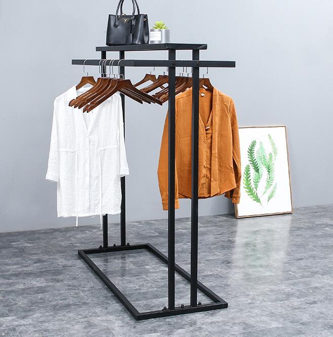 Nakajima رف الطابق متجر لبيع الملابس عرض موقف. صف مزدوج الجانب الجرف القضبان المتوازية الجانب hangers.089