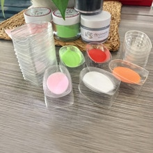 1 ensemble de trempage poudre Sase outils vide stockage en plastique transparent petit échantillon maquillage ongles poudre étui