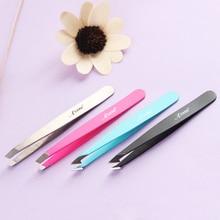 Hair Removal Tweezers Stainless Steel Eyebrow Tweezers Pink Slanted Black Tip Point Face Harmless Ma