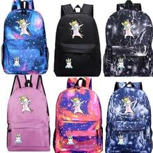 Dabbing Unicorn Backpack Students Boys Girls Bags Fashion New Pattern Women Travel Mochila Teens Back to College Daily Rucksack