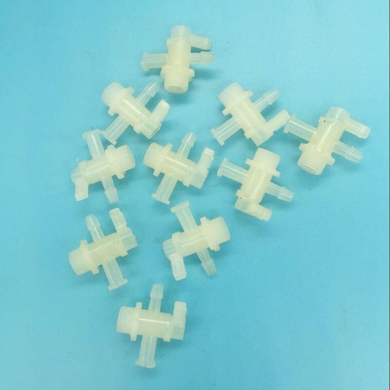 10 piunids/lote impresora de inyección de tinta de plástico Válvula de tinta para Flora LJ3208K LJ320K con color 3 formas de montaje de tubo de tinta de válvula manual conector