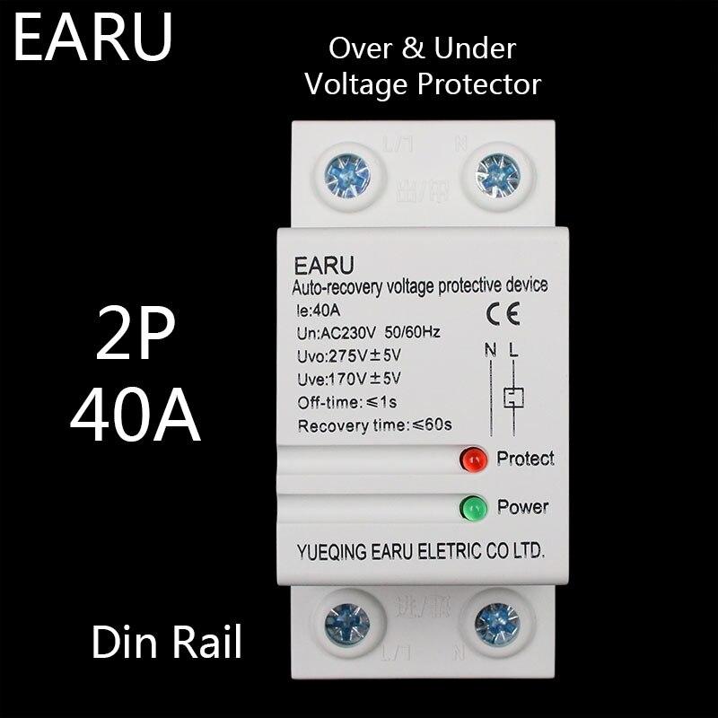 40A 230 V Din schiene automatische wiederherstellung wieder überspannung und unter spannung schutz gerät protector schutz relais