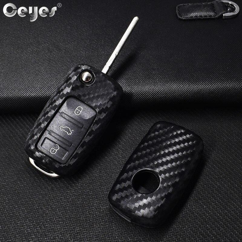 Ceyes Auto Styling Auto Key Shell Case Voor Volkswagen Polo Tiguan VW Passat Voor Skoda Auto-Styling Carbon fiber Accessoires