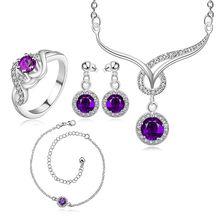 Ensemble de bijoux en argent plaqué, ensemble de bijoux de mode A038-D boucle doreille 451 collier 484 anneau 323-8/fjvaobca fvnaomua S784-C