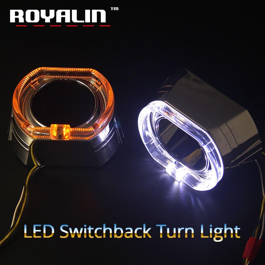 ROYALIN 2,5 LED DRL Angel Eyes Halo Kit Shrouds para BMW Mini X5-R W/ Switchback ámbar intermitente luz xenón lente bisel máscaras