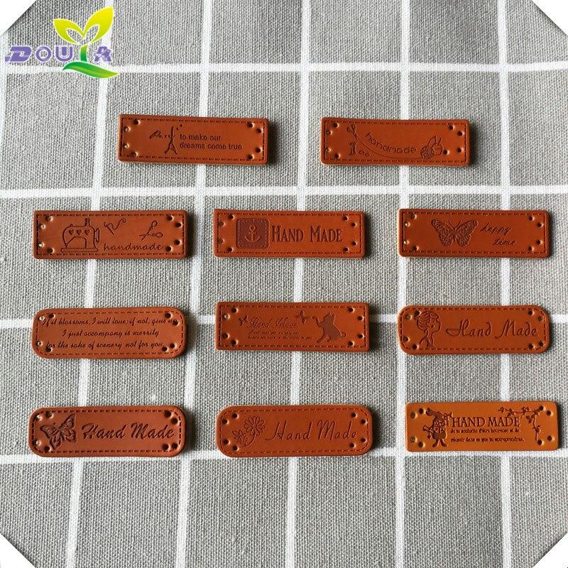 Envío Gratis, etiqueta hecha a mano DIY 100 unids/lote, etiquetas hechas a mano de cuero PU para ropa, etiquetas de cuero personalizadas con logotipo de marca