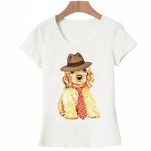 Hipster cool Cocker español camiseta verano mujeres camiseta 2019 nuevo perro divertido diseño lindo Camiseta de manga corta para las niñas