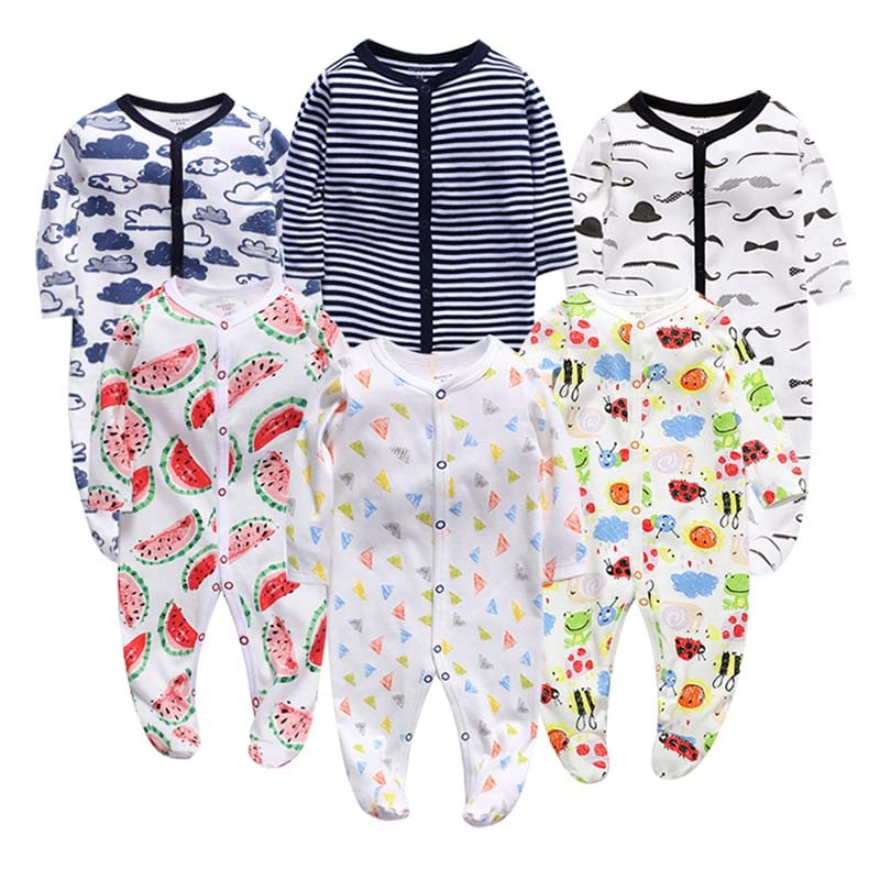 6pcs Baby rompers 100% Cotton Infant Body Short Sleeve Clothing baby Jumpsuit Cartoon Printed Baby Boy Girl clothes