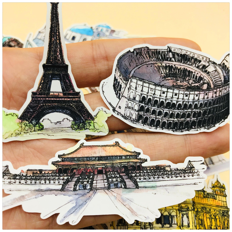 21 pçs mão desenho viagem arquitetura mundo famoso edifício adesivo caderno planejador diy papel fino adesivo