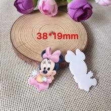 Couvre-chef en acrylique 38*24MM 10 pièces   Livraison gratuite, artisanat de figurines Minnie de bébé, résine planar à dos plat, bricolage, accessoires de cheveux