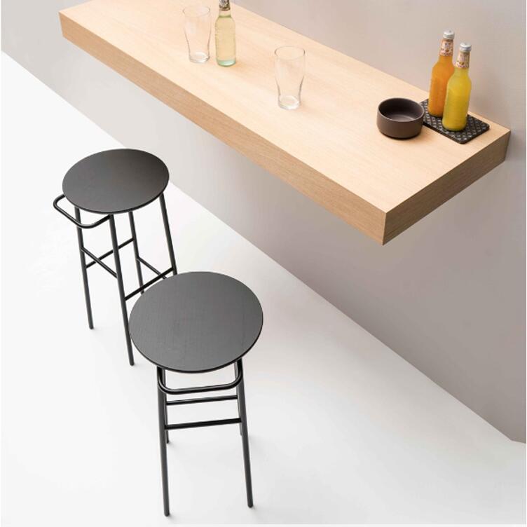 Nordic bar chair iron art solid wood European bar chair bar stool modern simple chair bar chair high stool high quality 42cm 62cm 72cm nordic bar stool bar chair creative coffee chair gold high stoolgolden modern leisure metal chair