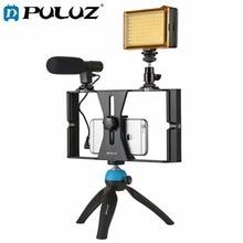 PULUZ Smartphone Video Rig + LED 스튜디오 라이트 + 비디오 마이크 + iPhone 용 콜드 슈 삼각대 헤드가있는 미니 삼각대 장착 키트