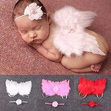 Stilvolle Neugeborenen Baby Kinder Feder Spitze Stirnband & Engel Flügel Blumen Foto Prop