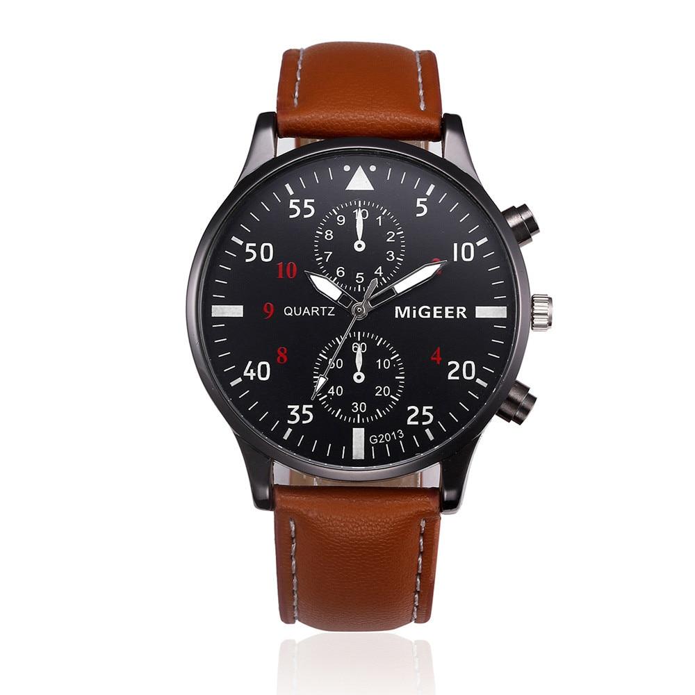 Migeer design retro masculino vestido relógio casual couro do plutônio banda analógico liga quartzo relógio de pulso 2018 relogio masculino montre homme