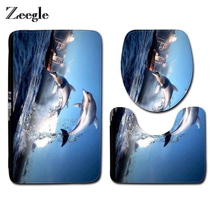 Zeegle коврик для ванной с дельфином, нескользящий коврик для ванной комнаты, впитывающий Воду Ковер, Набор чехлов для унитаза, украшение для д...