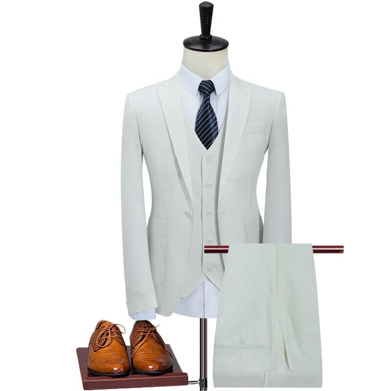 Traje blanco caqui de 3 piezas trajes de hombre coreanos de moda trajes de hombres de negocios diseñadores 2019 Slim Fit trajes de boda para hombres