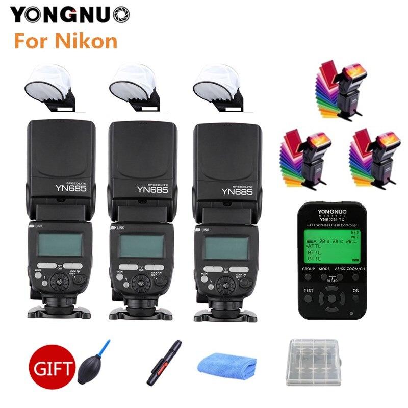3 sztuk YONGNUO YN685N lampa błyskowa YN685 bezprzewodowa lampa błyskowa HSS TTL + YN622N-TX wyzwalacz do Nikon 100D 1100D 1200D lustrzanka cyfrowa