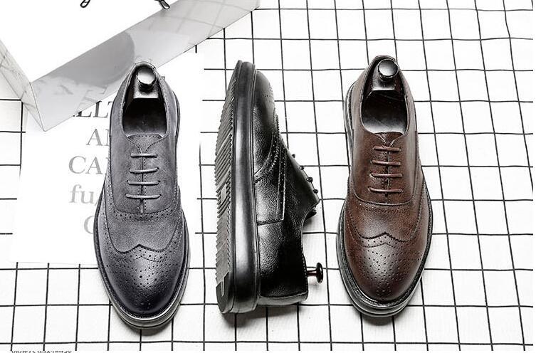 Platform Shoes men lace up genuine leather carved dress shoes fltas moccasins breathable new arrival fashion smart casual brogue
