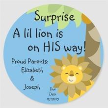 Pegatina redonda clásica de Safari para bebé sorpresa cielo azul León rey jungla personalizada