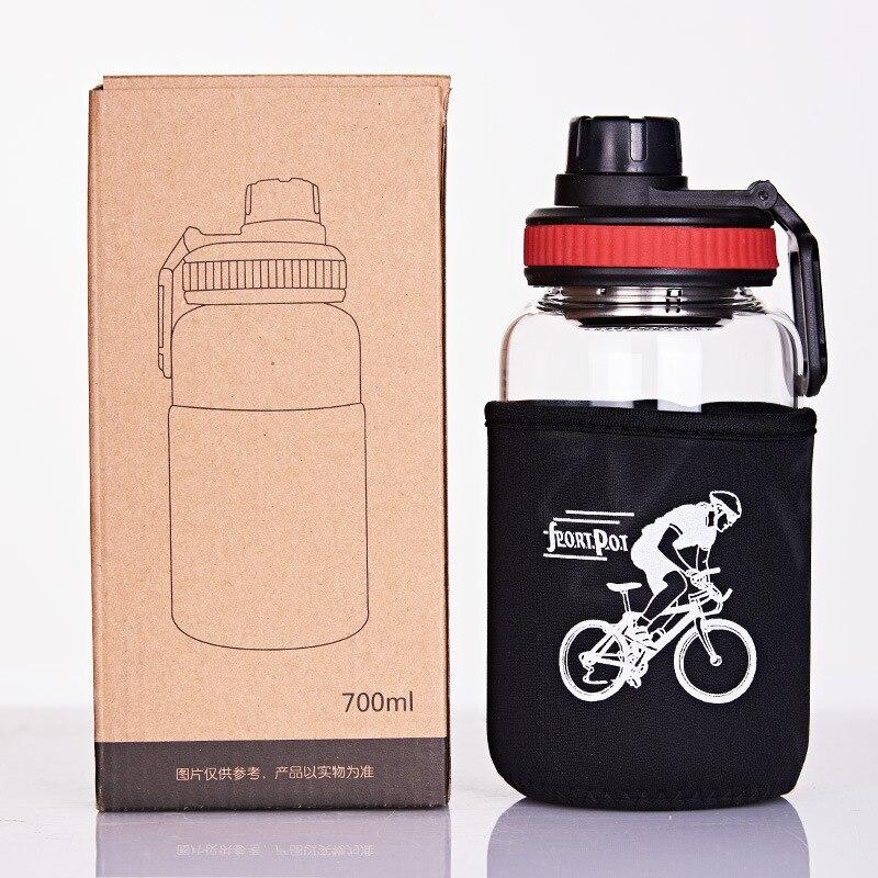 Botella de vidrio deportiva portátil de 700 ml/1000 ml con Infusor de té, botella de agua de cristal, botella de bebida, botella de té