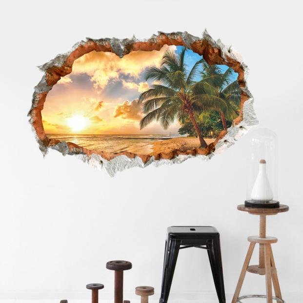 3D paisaje roto atardecer paisaje marino pegatina de pared Sala dormitorio extraíble telón de fondo decoración del hogar pegatinas de arte 18Oct