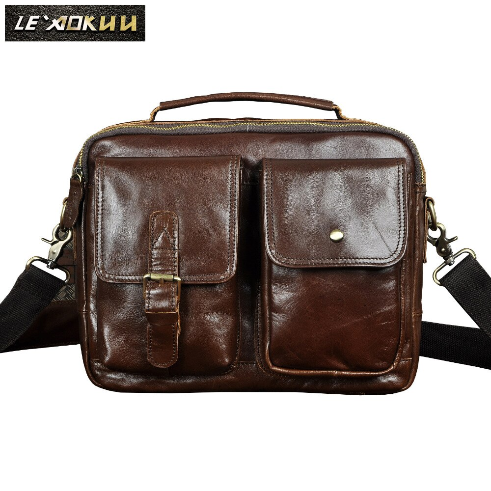 Fashion Leather Male Casual Messenger bag Satchel Design Travel Crossbody Shoulder bag Student Colle
