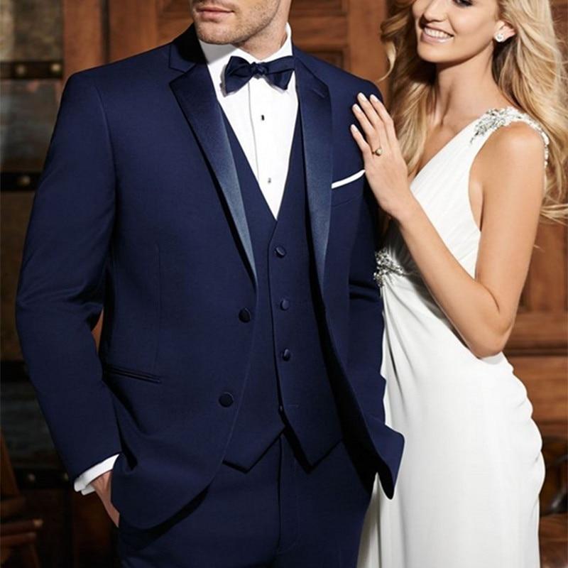 بدلة رسمية مخصصة للرجال مصنوعة من الساتان لطية صدر السترة والعريس باللون الأزرق الداكن بدلة أفضل رجل للزفاف (جاكيت + بنطلون + ربطة عنق + سترة)