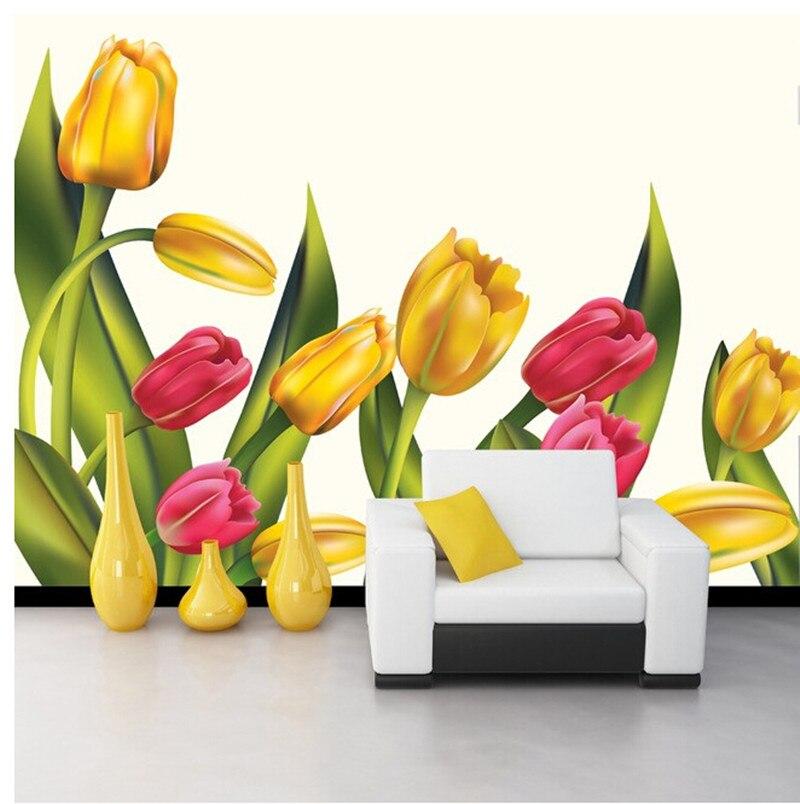Personalizado 3D brillante y hermoso tulipán pintura al óleo murales papel de parede, papel tapiz de pared para habitación de TV y restaurante de hotel