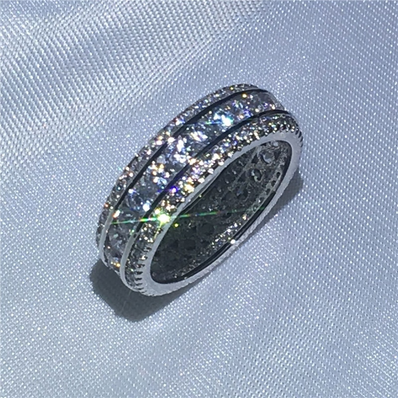Canal réglage bague fiançailles bague de mariage anneaux pour femmes hommes complet AAAAA zircon cz or blanc rempli femelle doigt bijoux