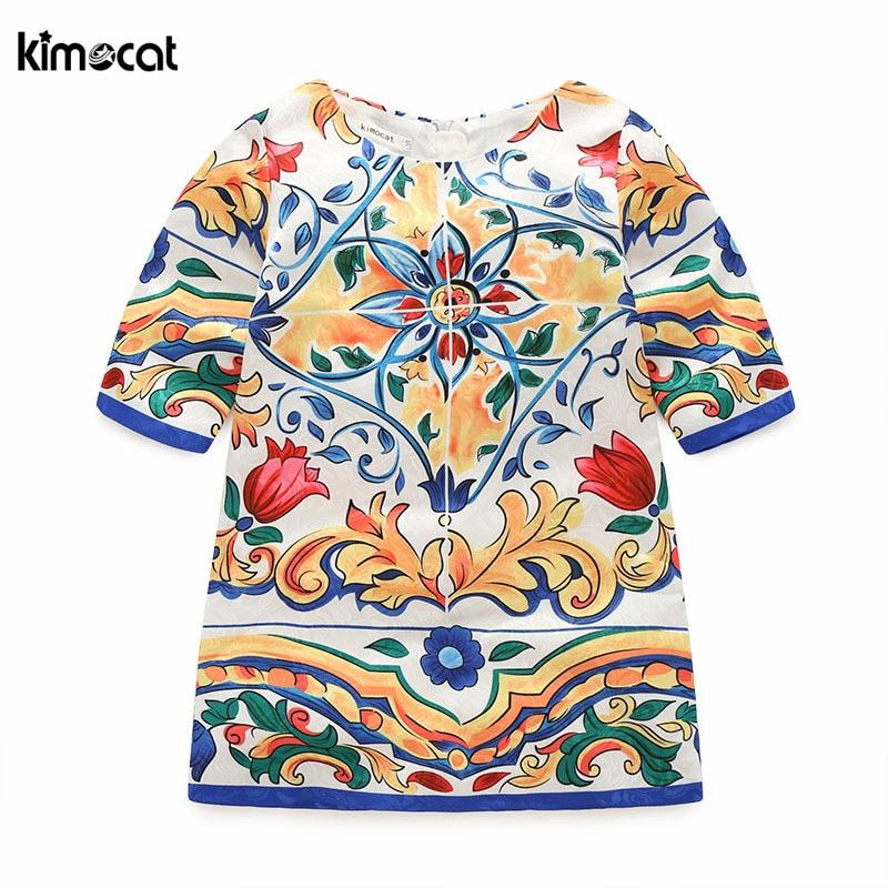 Kimocat-فستان أميرة جاكار نصف كم للفتيات ، ملابس صيفية مع طباعة زهور لطيفة للأطفال ، على الطراز الإنجليزي