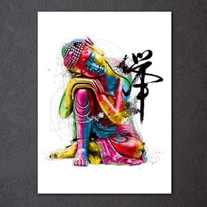 1 Pcs Framed HD Printed Watercolor Chan Meditation Buddha Picture Wall Art Canvas Room Decor Poster Canvas Modern Oil Painting