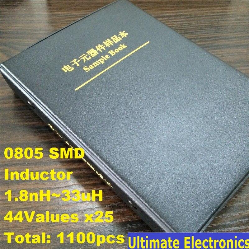 0805 SMD SMT Chip inductores surtido Kit 44 valores x25 surtido libro de muestra