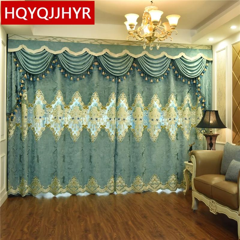 Cortinas para sala de estar de estilo europeo con bordado personalizado de alta calidad, cortina cenefa clásica de lujo para dormitorio y Hotel