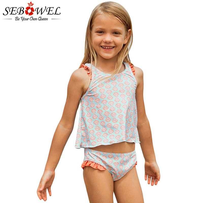 SEBOWEL 2020 женский светильник, голубой танкини для маленьких девочек с принтом лосося, Детский комплект из двух предметов, купальник-бикини для...