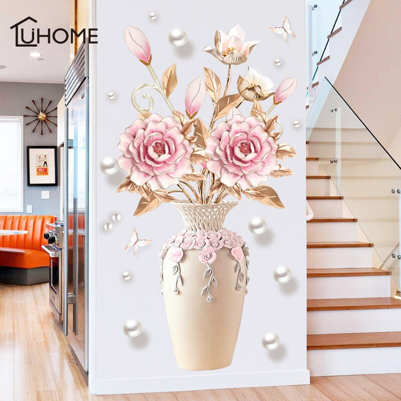 Adhesivo de pared de florero de peonía creativo para sala de estar dormitorio adhesivo 3D pegatinas de pared decoración extraíble para pared decoración de pintura