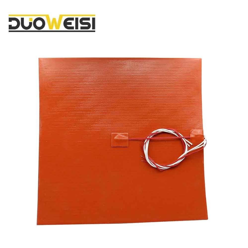 DuoWeiSi 3D طابعة أجزاء 300x300 مللي متر الحرارة السرير 24/110/120/220/240V 200/350/500/600/750W سيليكون سخان سخان سادة السرير التدفئة حصيرة