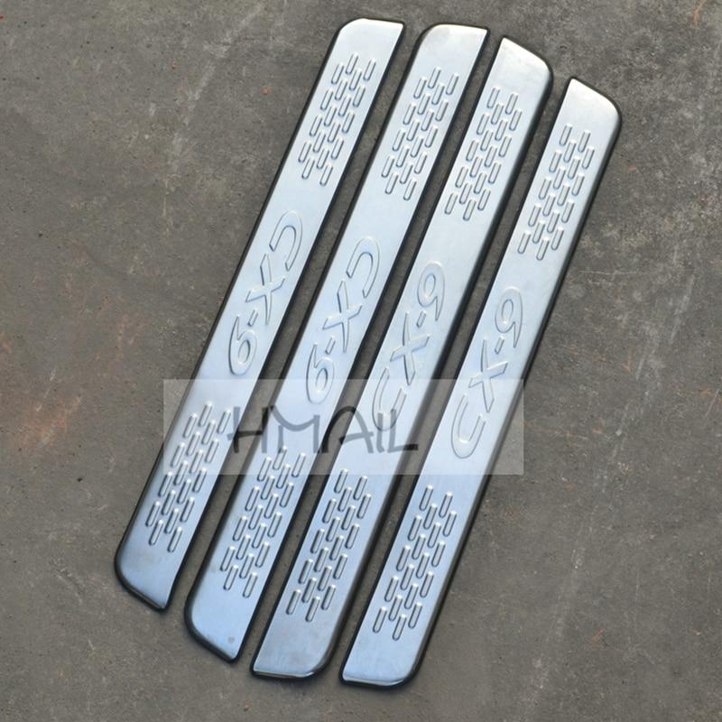 Para 2013 MAZDA CX-9 puerta de acero inoxidable tira de umbral exterior Ajuste del umbral del coche estilo de bienvenida pedal raspa placa Cubierta película
