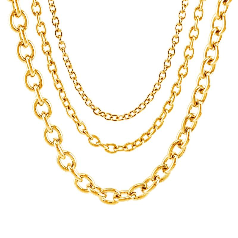 O link chain rvs verkoop in meter goud kleur 4/6/8mm rolo chain dikke zware keten mannen DIY sieraden groothandel ketting