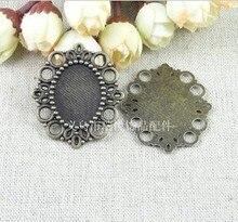 Envío gratis (A2330) 25mm x 18mm configuración ovalada aleación Base de corcho hacer encanto colgante accesorios de joyería