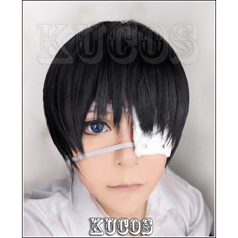 Tokyo Ghoul Ken Kaneki Short Black Cosplay Wig + Eyepatch + Wig Cap
