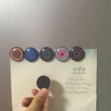 Multicolor 6 estilo Mandala 30mm nevera adhesivo magnético para nevera Navidad decoración del hogar mensaje soporte de cristal cabujón redondo