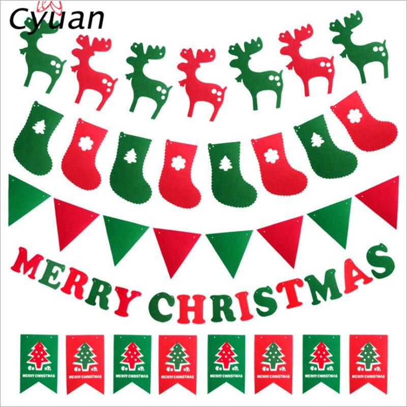 Cyuan חג המולד גבתון באנרים החג שמח ילדי בית DIY זרי חג המולד איילים גרב דגלי אספקה לשנה חדשה