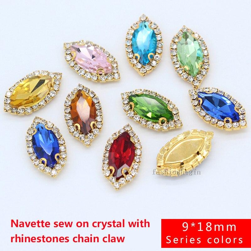 6p 9x18mm navette color vestido piedra costura en cristal aplique diamante imitación cristal base dorada hebilla para ropa manualidad para vestido