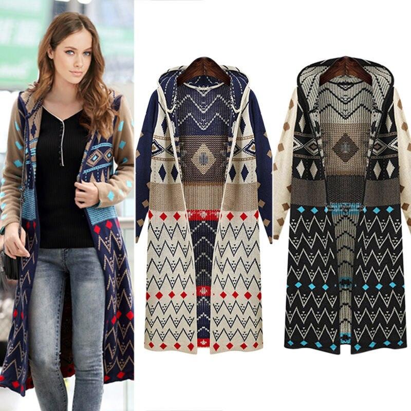 Gran oferta cárdigan largo de punto para mujer chaqueta con capucha geométrica informal holgada suéter bohemio envío gratis